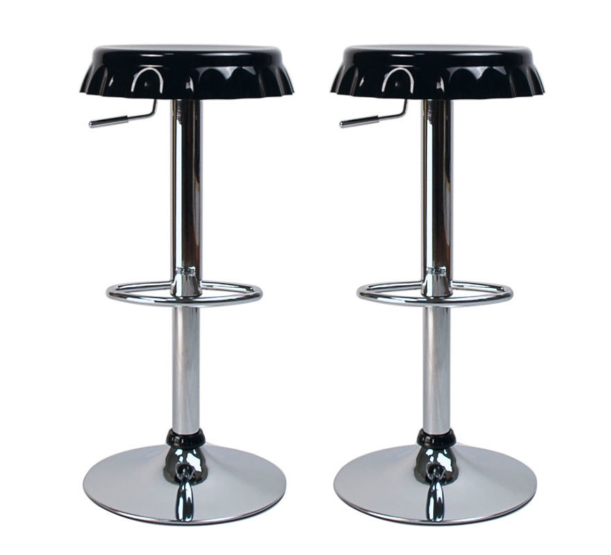 Set of 2 CAP bar stools - black