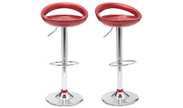 Set of 2 COMET bar stools - burgundy