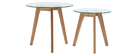 Set of 2 DAVOS oak and glass nesting coffee tables