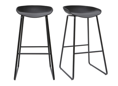 Amazing Set Of 2 Designer Black Pebble Bar Stools With Metal Frame Spiritservingveterans Wood Chair Design Ideas Spiritservingveteransorg