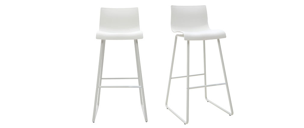 Set of 2 designer white ONA bar stools with a height of 76cm