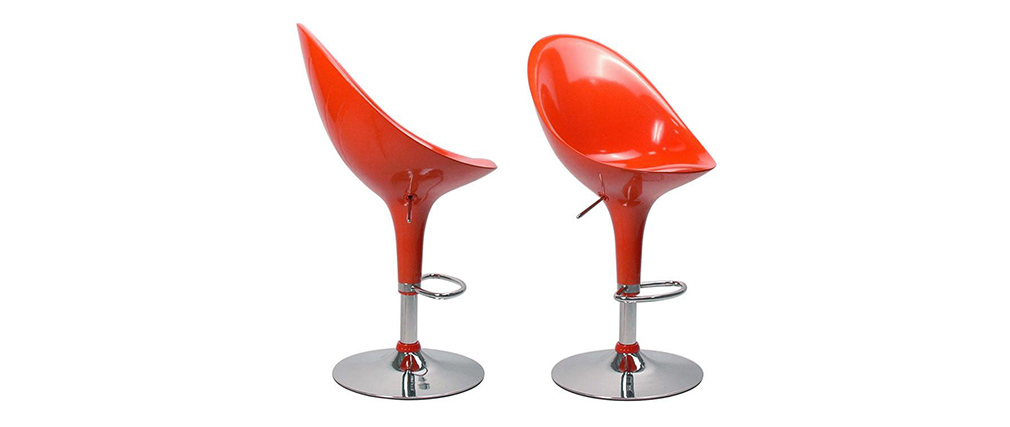 Set of 2 EGG bar stools - orange