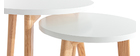 Set of 2 GILDA round oak and white side tables