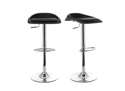 Set of 2 Modern Black Bar Stools SYRIUS