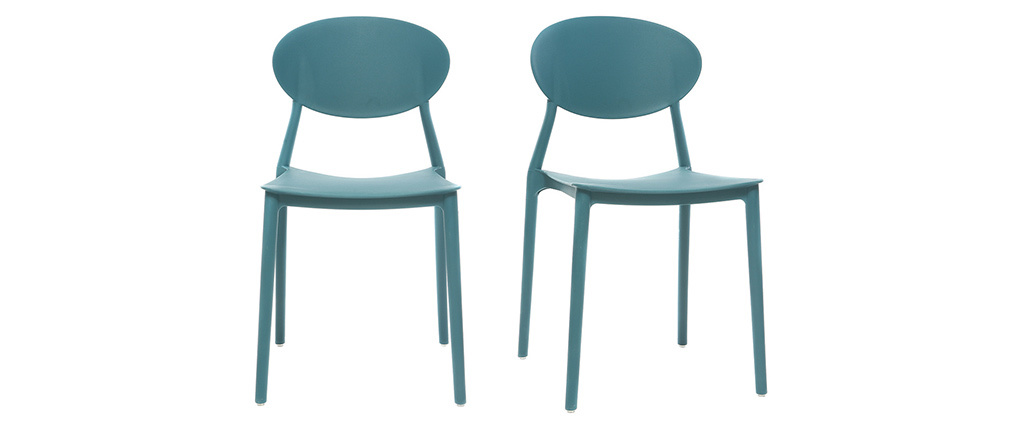 Set of 2 modern peacock blue polypropylene chairs ANNA
