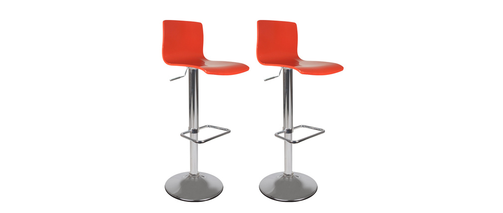 Set of 2 NEWSURF bar stools - red