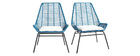 Set of 2 outdoor armchairs in peacock blue resin wire TANGO