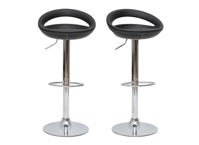 Set of 2  PVC COMET bar stools - black