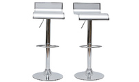 Set of 2 WAVES bar stool - silver