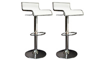 Set of 2 WAVES bar stool - white