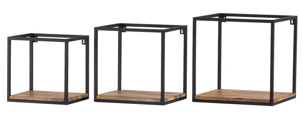 Set of 3 mango and black metal square wall shelves YPSTER
