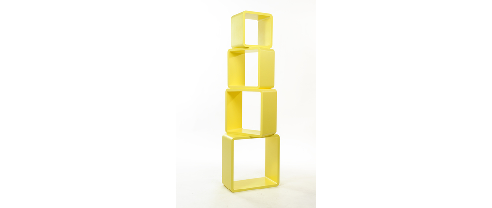 Set of 4 square shelves POP - yellow