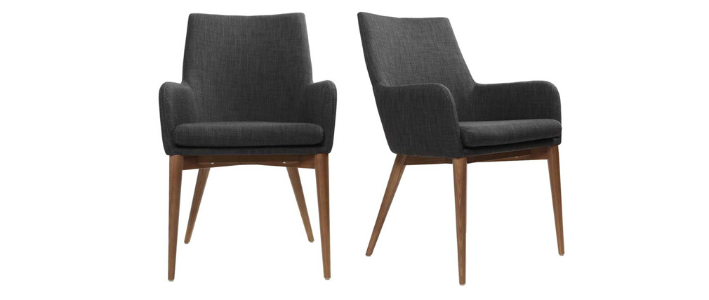 SHANA set of 2 anthracite grey designer polyester armchairs