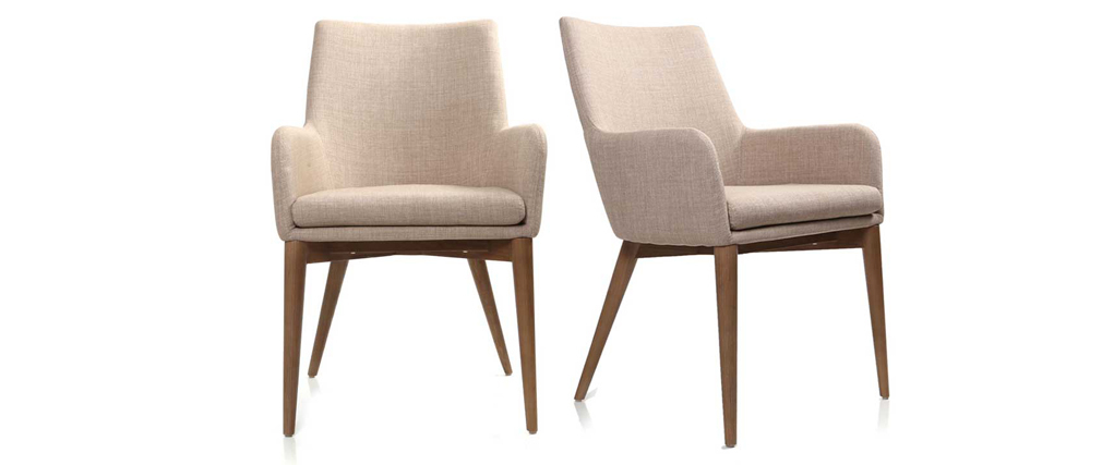 SHANA set of 2 beige designer polyester armchairs
