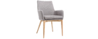 SHANA set of 2 designer armchairs in light wood and grey fabric