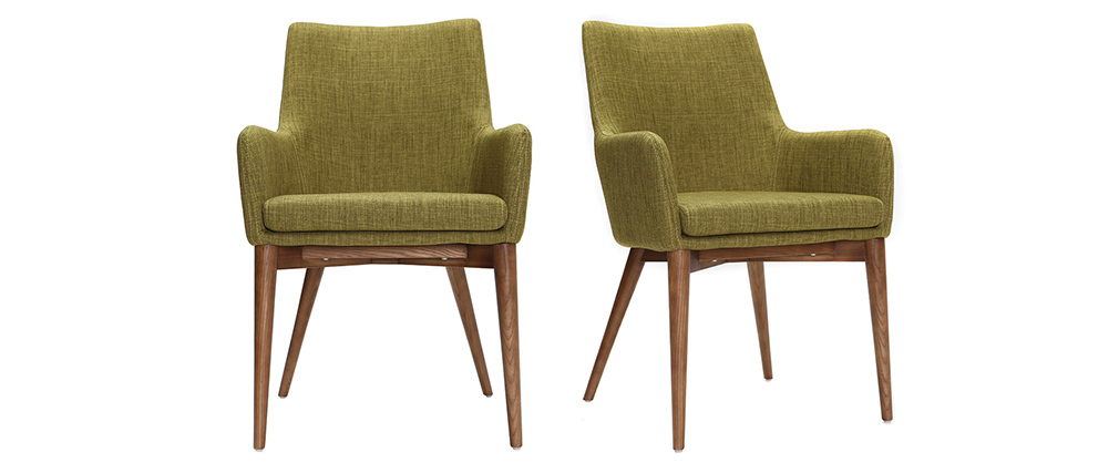 SHANA set of 2 designer armchairs in wood and green fabric