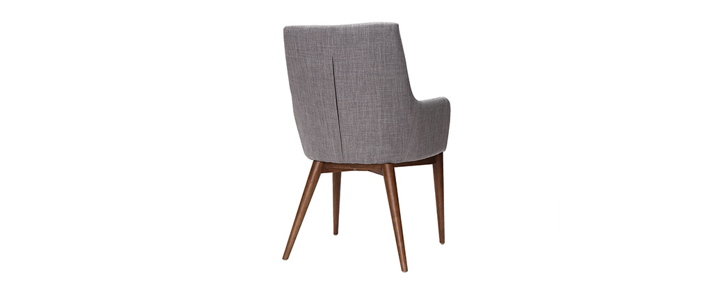 SHANA set of 2 designer armchairs in wood and light grey fabric