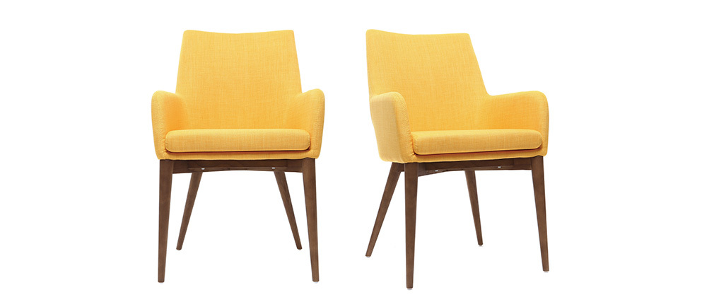 SHANA set of 2 designer armchairs in wood and light yellow fabric