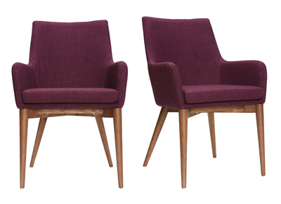 SHANA set of 2 designer armchairs in wood and plum fabric