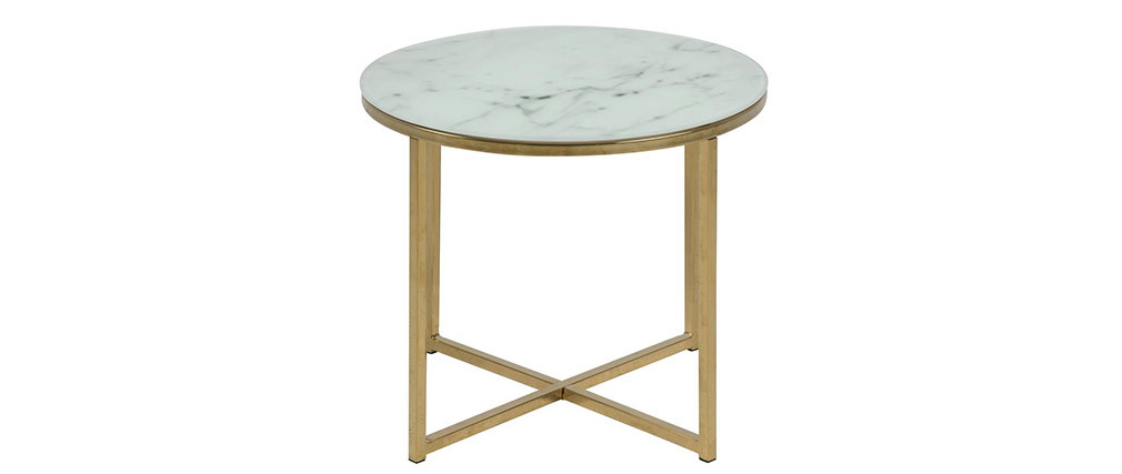 SILAS coffee table in marble effect 50cm