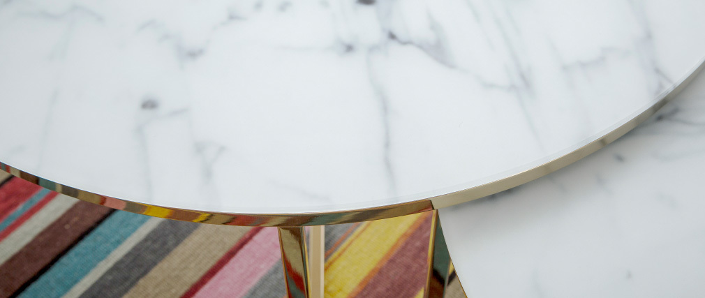 SILAS coffee table in marble effect with metal legs 80cm