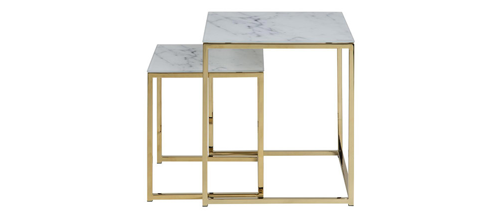 SILAS square nesting tables in marble effect with metal legs