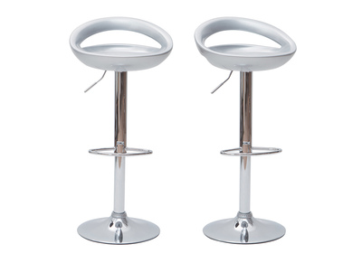 Silver Modern Bar/ Kitchen Stool COMET (set of 2)