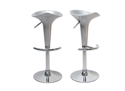 Silver Modern Bar/ Kitchen Stool GALAXY (set of 2)