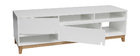 SKAL Matte White and Wood Modern TV Stand