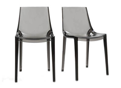 Smoked Grey Modern Chair YZEL (set of 2)