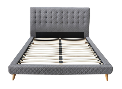 SOREN light grey upholstered quilted bed with topstitching 140x190cm