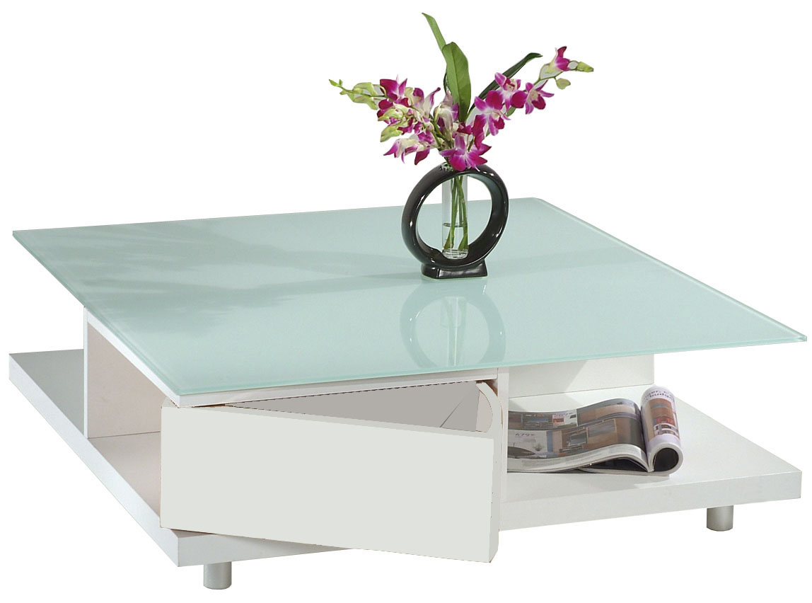 Square lacquered coffee table NEW YORK - white