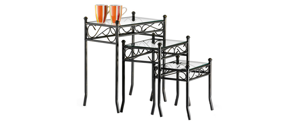 Steel and Tempered Glass Side Tables FLORENCE