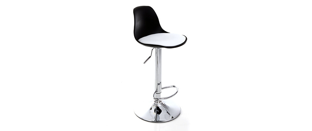 STEEVY Black and White Modern Bar Stool (set of 2)