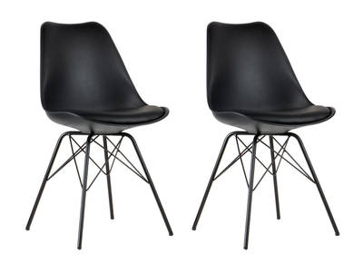 STEEVY V2 set of 2 black designer chairs with star-shaped legs