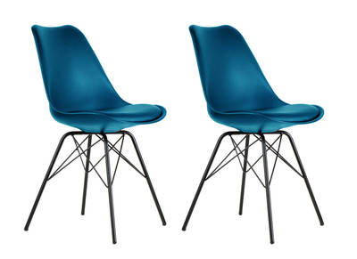 STEEVY V2 set of 2 blue designer chairs with star-shaped legs