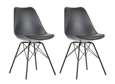 STEEVY V2 set of 2 grey designer chairs with star-shaped legs