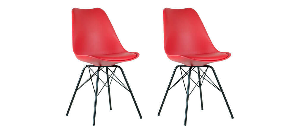 STEEVY V2 set of 2 red designer chairs with star-shaped legs