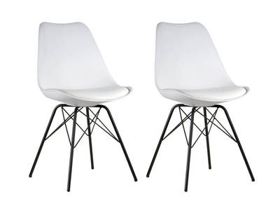 STEEVY V2 set of 2 white designer chairs with star-shaped legs