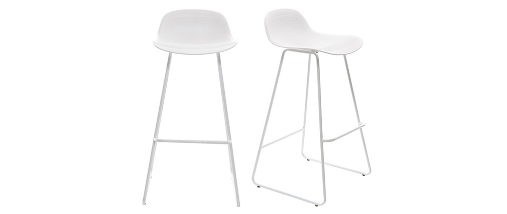 STELLA set of 2 white designer bar stools