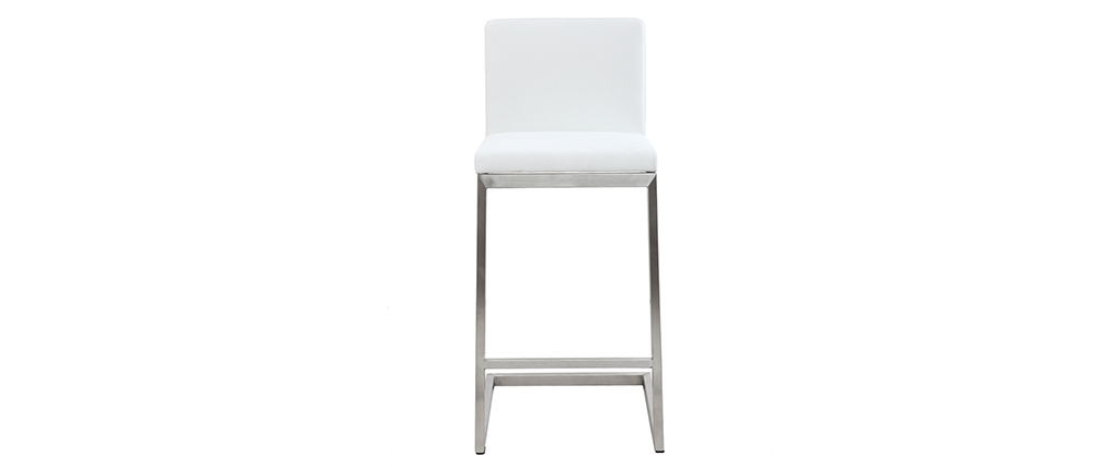 STELLAR white PU bar stool with brushed aluminium legs
