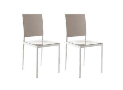 Taupe Grey Glossy Modern Chair NIXIE (set of 2)