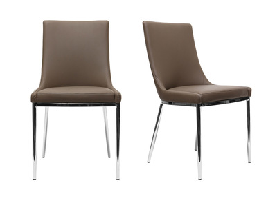 Taupe Grey Polyurethane and Chromed Steel Modern Chair IRA (set of 2)