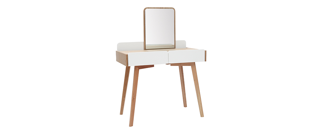 TAYA modern dressing table in wood and white with mirror and storage