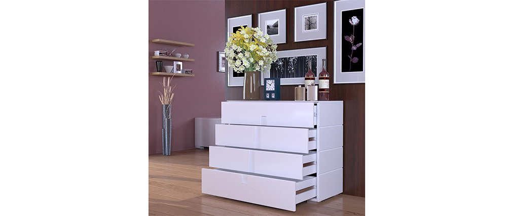 TED Glossy White Modern 4 drawer Chest