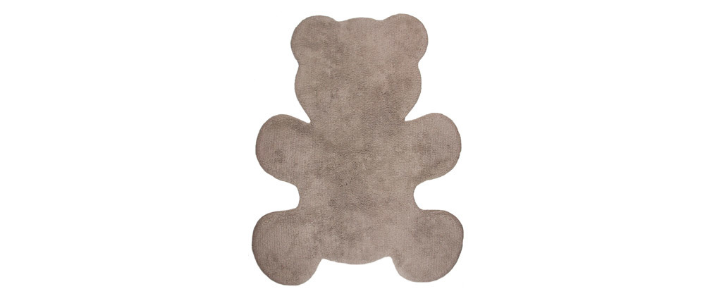 TEDDY washable taupe cotton children?s rug 80x100cm
