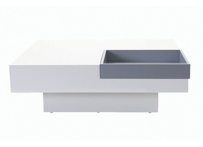 TEENA Glossy White Modern Coffee Table with Removable Grey Tray