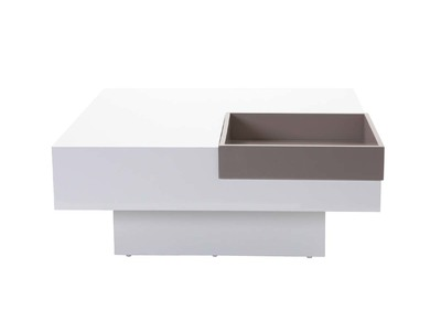 TEENA Glossy White Modern Coffee Table with Removable Taupe Tray