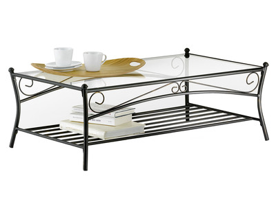 Tempered Glass and Steel Rectangular Coffee Table FLORENCE