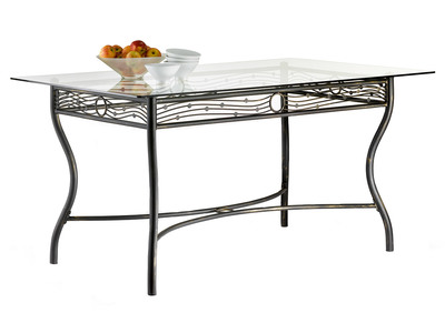 Tempered Glass and Steel Rectangular Dining Table FLORENCE